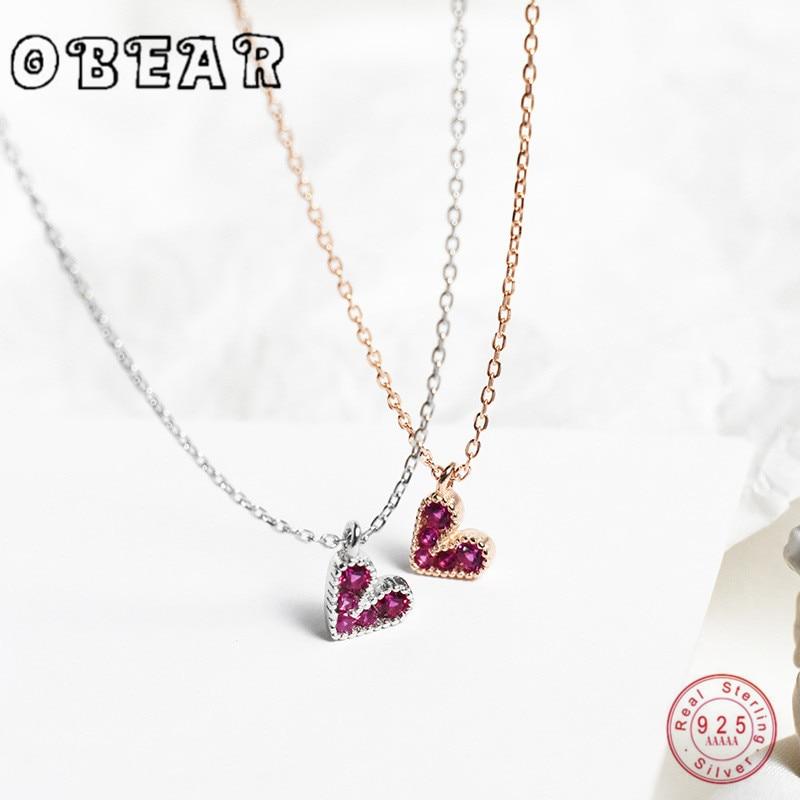 OBEAR Collar de plata de ley 925 con rojo circonio con forma de corazón colgantes de plata de moda collar de joyas regalo fiesta