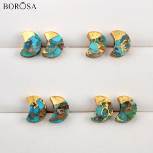 BOROSA Moon Gold Plating Copper Natural Turquoises Stud Earrings for Women Fashion Gems Stone Earrings Gold Earrings Women G1988