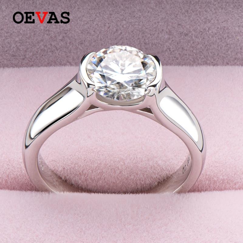OEVAS-خاتم زفاف من الفضة الإسترليني عيار 18 قيراط للنساء ، خاتم ، 100% ، 925 فضة استرلينية ، ذهب أبيض ، تصميم مويسانيتي ، 2 قيراط ، زفاف