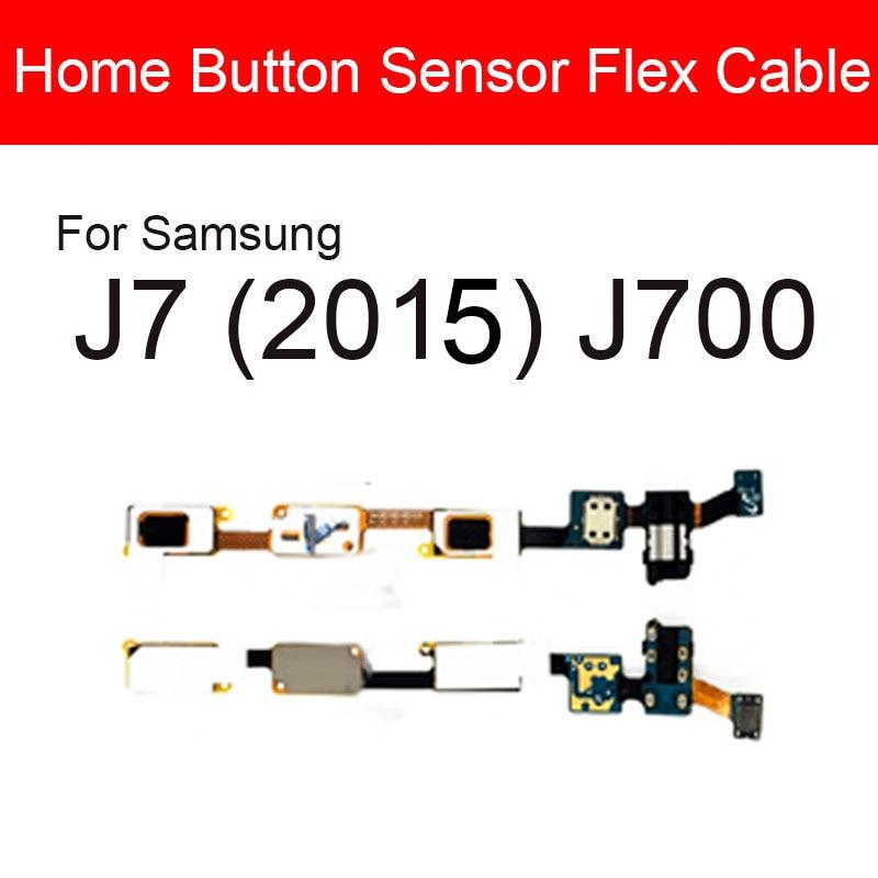 Home Button Flex Cable For Samsung Galaxy J7 (2015) J700 Menu Return Key Touch Button + Audio Jack R