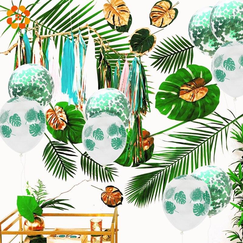 1 Juego de hojas de palma para fiesta de jungla con temática de planta verde, globo de feliz cumpleaños, bandera para bautizo de bebé, suministros para fiesta botánica de cumpleaños