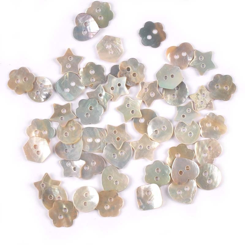 50Pcs 2 Holes Color Mother Of Pearl Round Shell Buttons Sewing Accessories DIY Kid Apparel Supplies