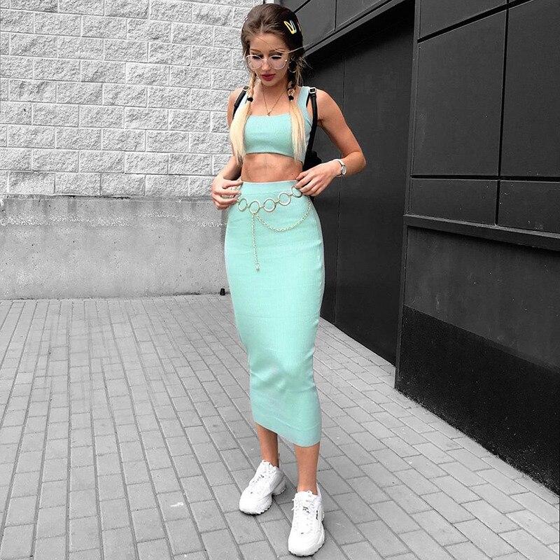 Conjunto de dos piezas de punto acanalado para mujer Falda larga corta Camiseta sin mangas sexy elegante fiesta a juego ropa de fiesta 2019 trajes de verano