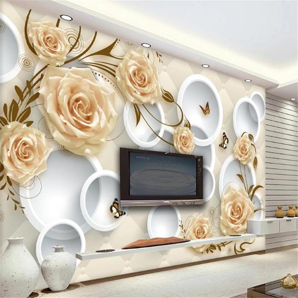 Milofi customized large 3D wallpaper mural European yellow rose vine stereo circle soft package TV background wall