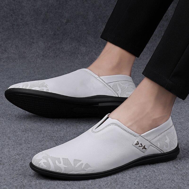 Casuais dos Homens Sapatos de Couro Deslizamento de Borracha Sapatos de Condução Deslizamento em Calçados Homens Apartamentos Sapatos Mocassins Genuíno Não Moda Artesanal
