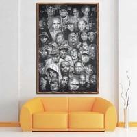 wu tang clan 2pac legends of hip hop rapper rap music art painting silk canvas poster wall home decor