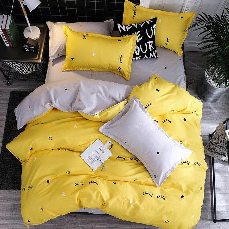 Juego de 4 Uds chico de funda de cama amarilla con estrella de pestañas, funda de edredón de dibujos animados, Sábana de cama para niños adultos y fundas de almohada, juego de cama de edredón 61018