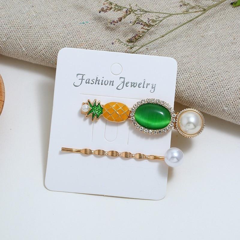 Pinzas de pelo para mujer bohemios resina piña perla simulada Barrettes Set bohemio horquillas diademas para el cabello Accesorios