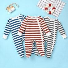 Nouveau-né infantile bébé garçons filles mode rayure fermeture éclair barboteuse tenues