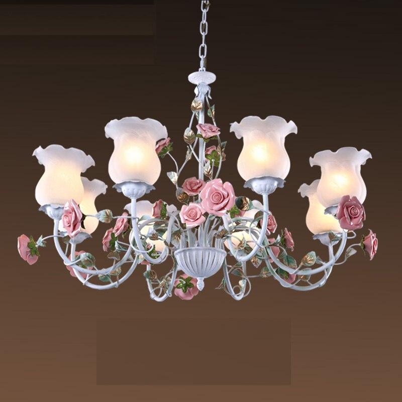 ثريا E27 LED مزينة بالزهور ، سبائك حديدية ، بيضاء ، زهرة ، لغرفة الطعام ، غرفة المعيشة ، مصباح وردي ، مصباح غرفة نوم الفتيات D70