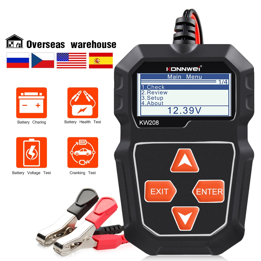 12v 24v car battery tester quick cranking tester alternator 7 led light display auto diagnostic tools 24 volts battery analyze KONNWEI KW208 Car Battery Tester 12V 100 to 2000CCA  Cranking Charging Circut Tester Battery Analyzer 12 Volts Battery Tools