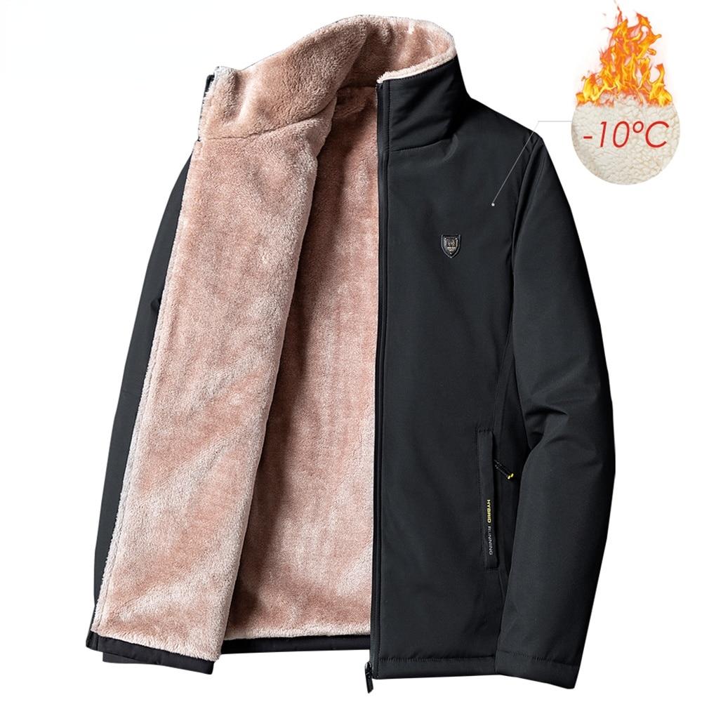 Мужская зимняя парка, Новая повседневная классическая теплая Толстая флисовая куртка, Мужская Осенняя модная ветрозащитная парка с карман...