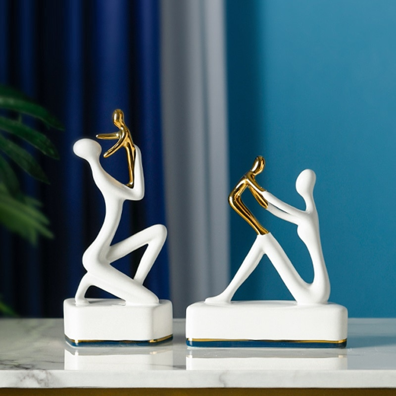 European Abstract Family Figure Statue Orn Creative Character Art Sculpture Decoration Ceramics Figurine Home Decor R4550