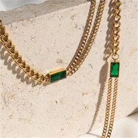 none fade stainless steel plated vintage emerald charm creative asymmetric cuban chain choker necklaces for women wholesale