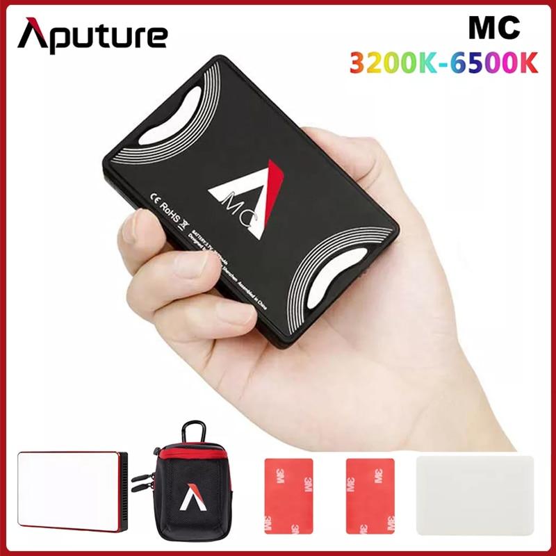 Aputure AL-MC MC RGBWW الإضاءة الفيديو مصباح LED صغير 3200K-6500K RGB HSI/CCT/FX ضوء صورة شخصية لسوني كانون كاميرا التصوير الفوتوغرافي