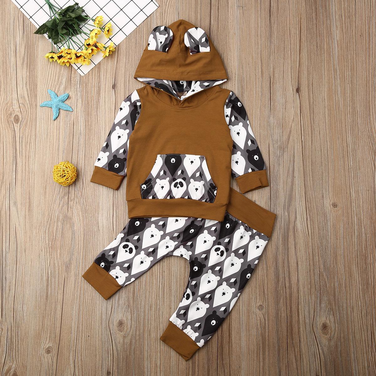 Pudcoco Winter Neugeborenen Baby Junge Mädchen Kleidung Cartoon Bär Drucken Mit Kapuze Tops Lange Hosen 2Pcs Outfits Cottton Kleidung Trainingsanzug