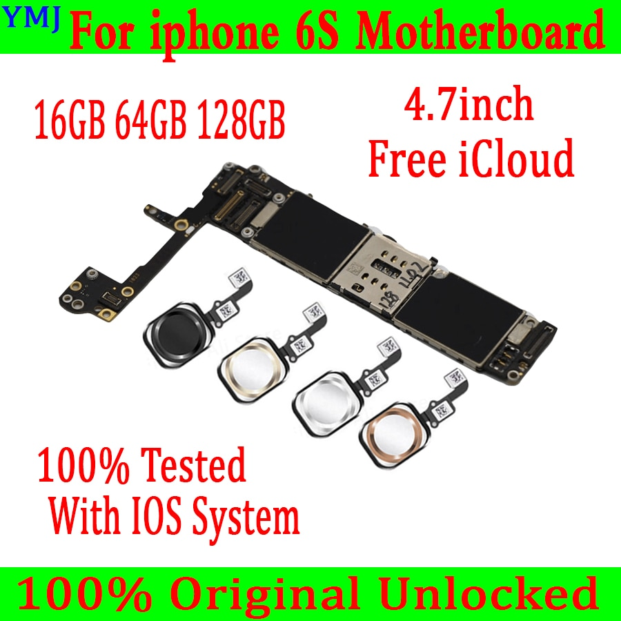 16GB 64GB 128GB desbloqueado para iPhone 6S placa base sin/con Touch ID, 100% Original para iphone 6s Logic con Sistema IOS