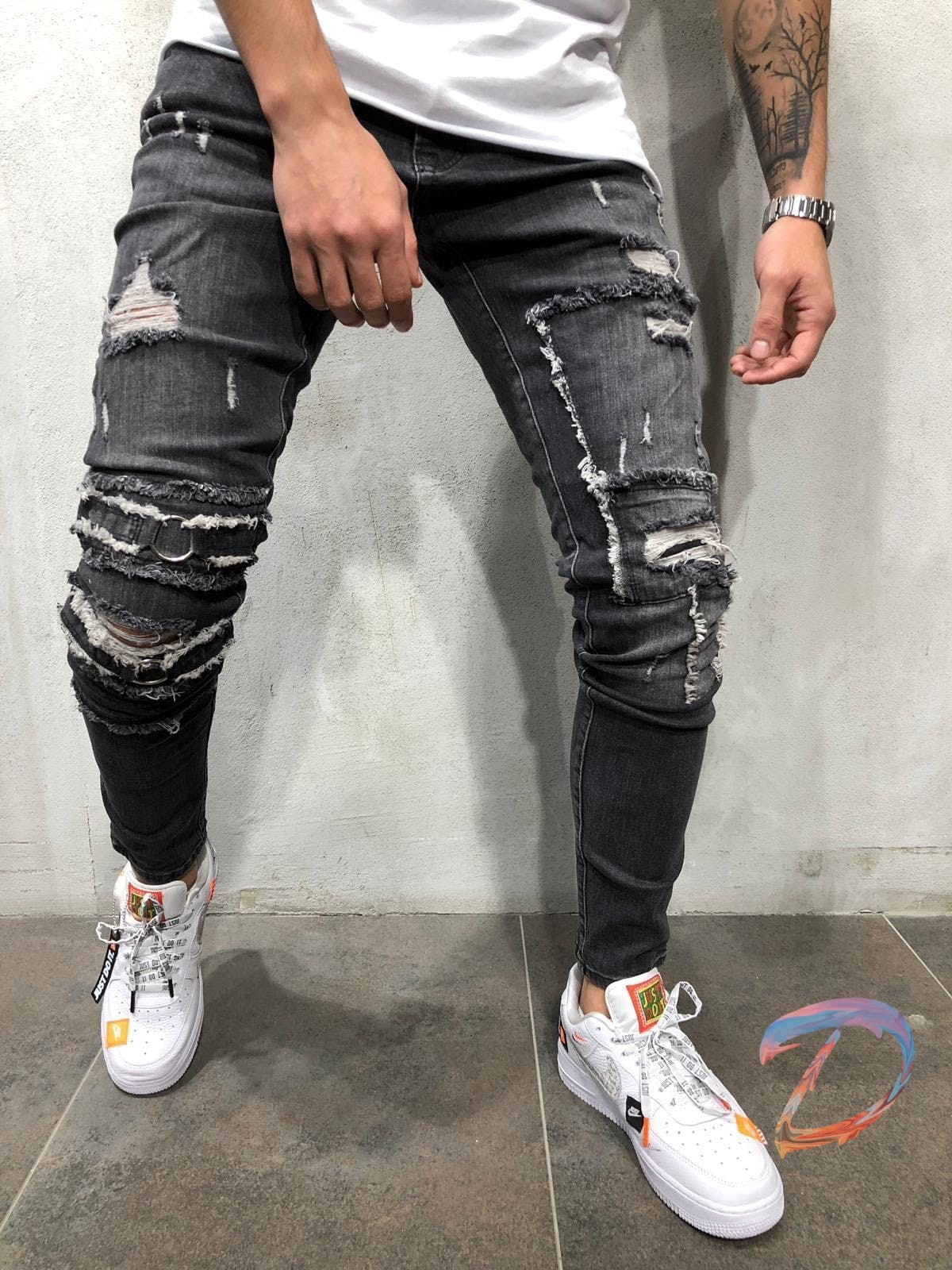 Men's Clothes European American Male Jeans New Slim Denim Men's Elastic Waist New Foot Pants Wash and Make Old Casual Trousers