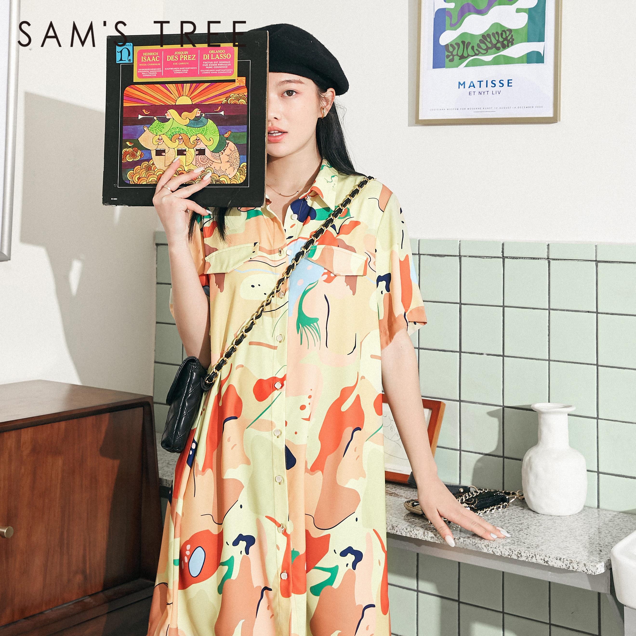 SAMS TREE Yellow Oil Painting Chic Button Casual Women Chiffon Shirts Dresses 2020 Summer Graphic Korean Ladies Holiday Dress