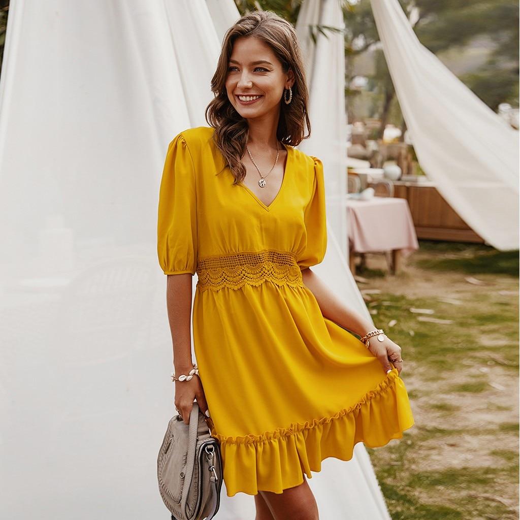 dress for women 2020 Women V-Neck Half Sleeve dresses Lace Slim Mini Dress Beach solid color Bohemian Dress vestidos *3