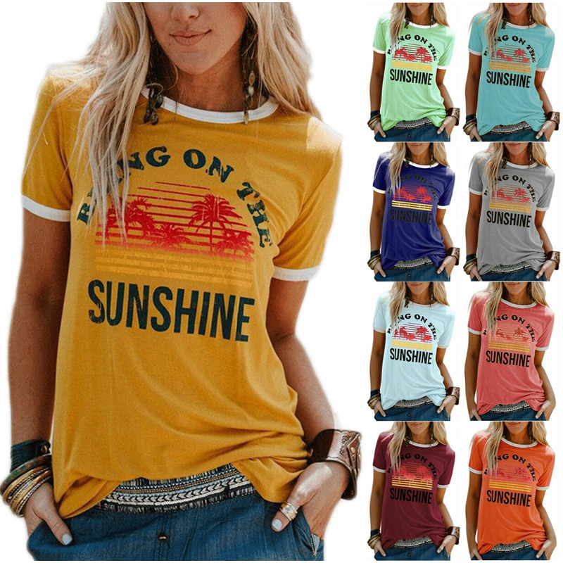 New Women's T-Shirt Bring On The Sunshine Letter Print Top Tees O Neck Short Sleeve Casual T Shirt casual letter print round neck t shirt pants twinset for kids