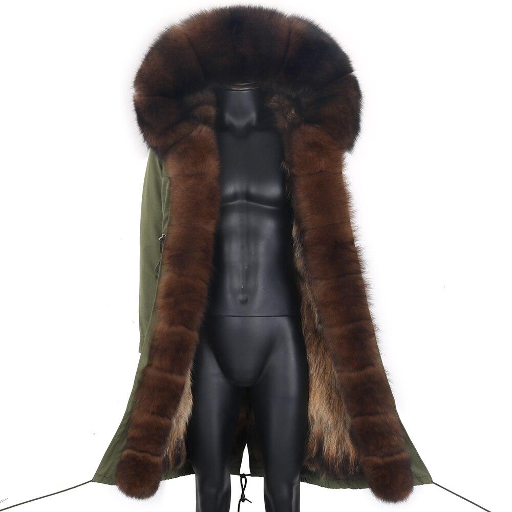 سترة شتوية للرجال X-Long سترة دافئة سميكة من الفراء سترة رجل مقاوم للماء للانفصال معطف فرو الثعلب الطبيعي سترة ملابس خارجية