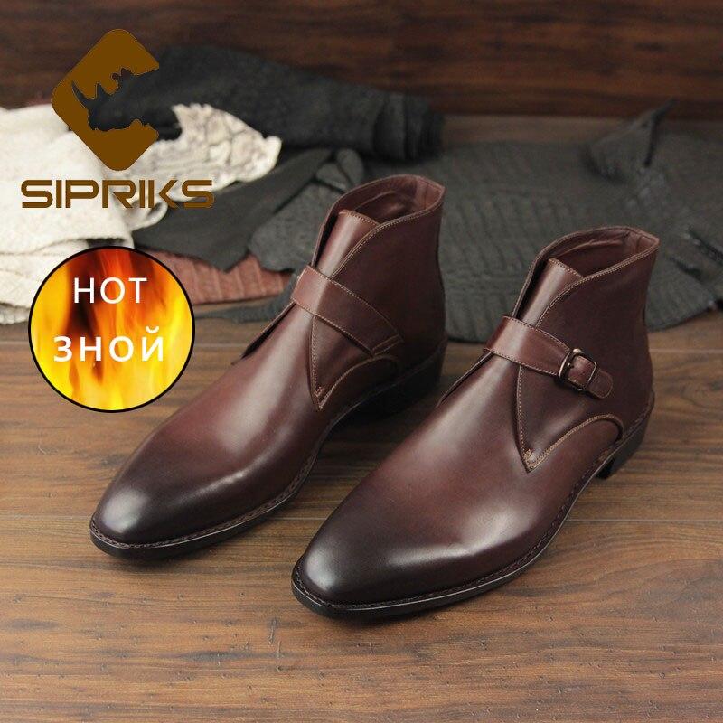 Sipriks-أحذية جلدية إيطالية للرجال ، أحذية دافئة مصنوعة يدويًا من الصوف مع حزام الراهب ، أحذية جوديير Welt 45 47