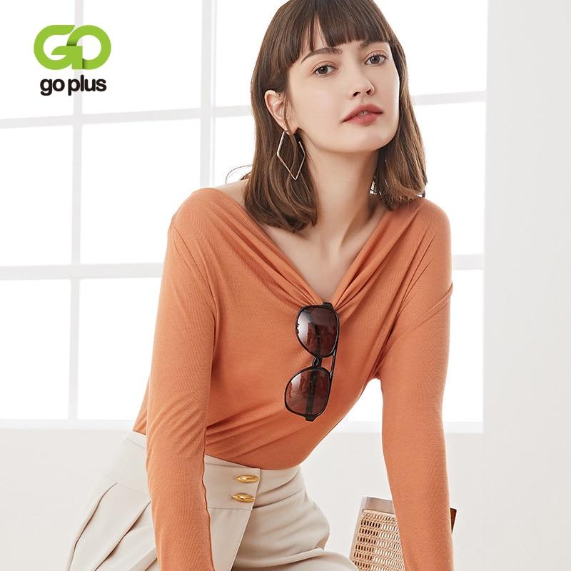 GOPLUS-camisetas de manga larga para Mujer, Camiseta con cuello en V, ropa...