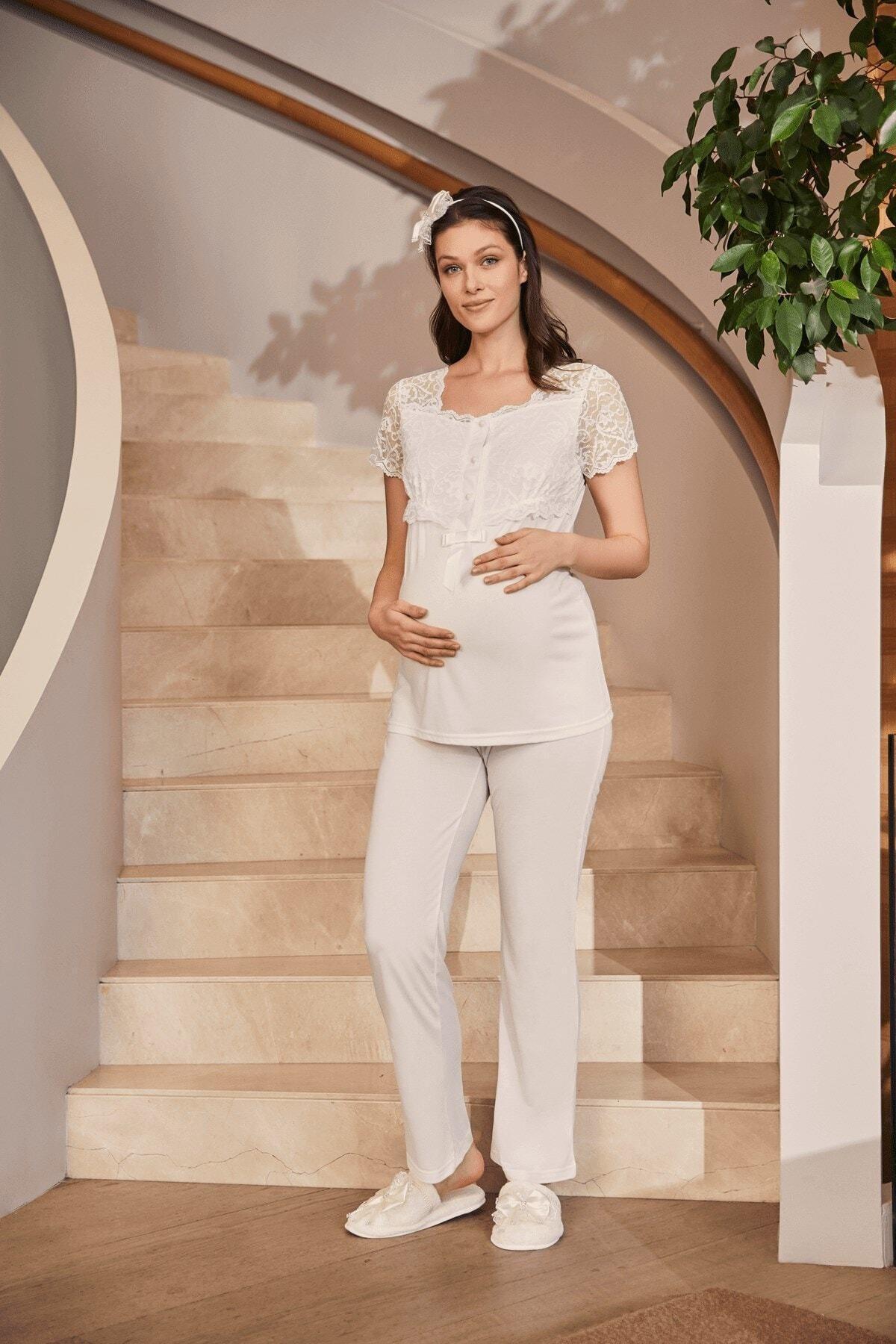 5002 female Ecru Sabahlıklı Puerperal Sleepwear Set enlarge