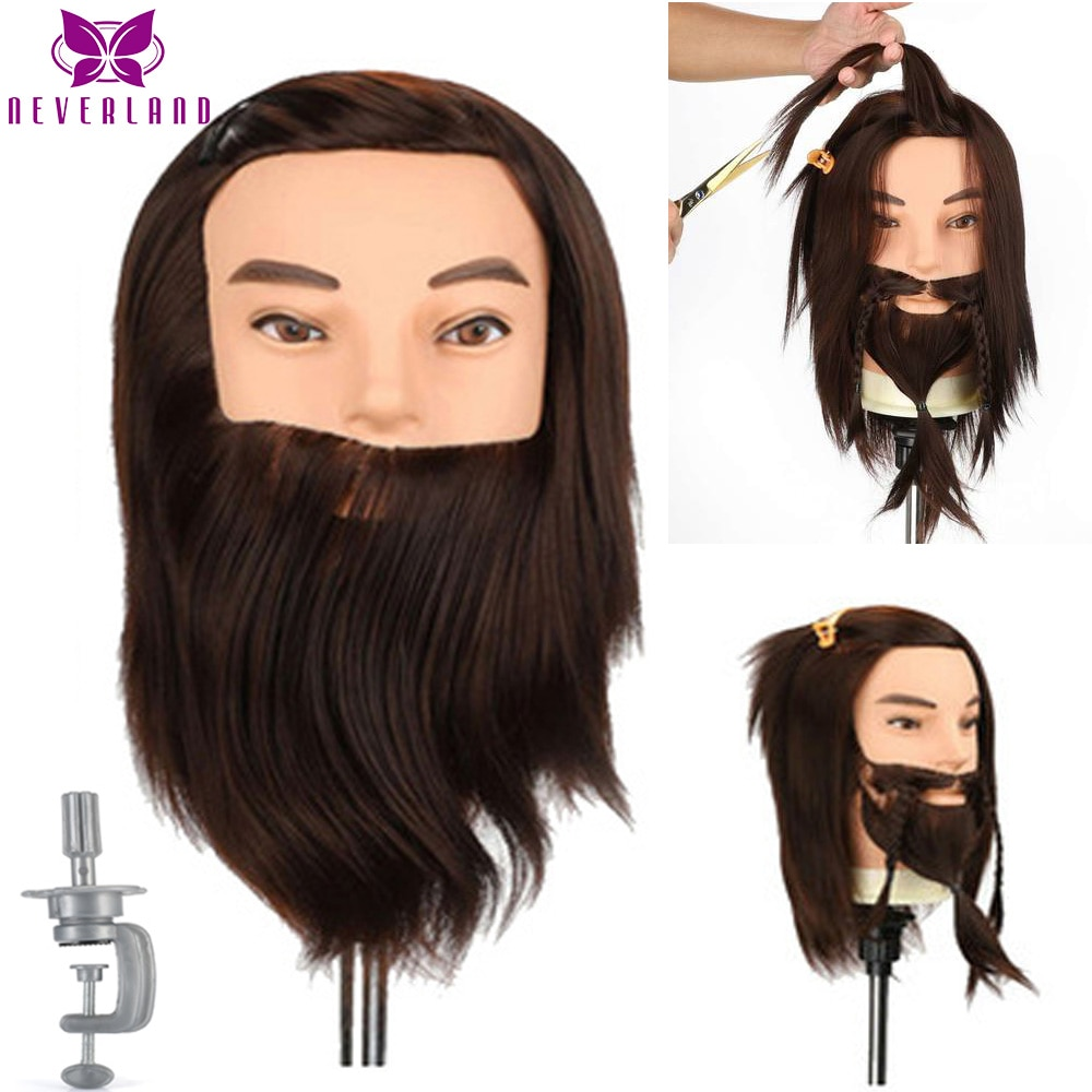 100% Synthetic Hair Male Mannequin Doll Head Beard for Hairdressers Salon Hairdressing Male Training Heads for Cutting