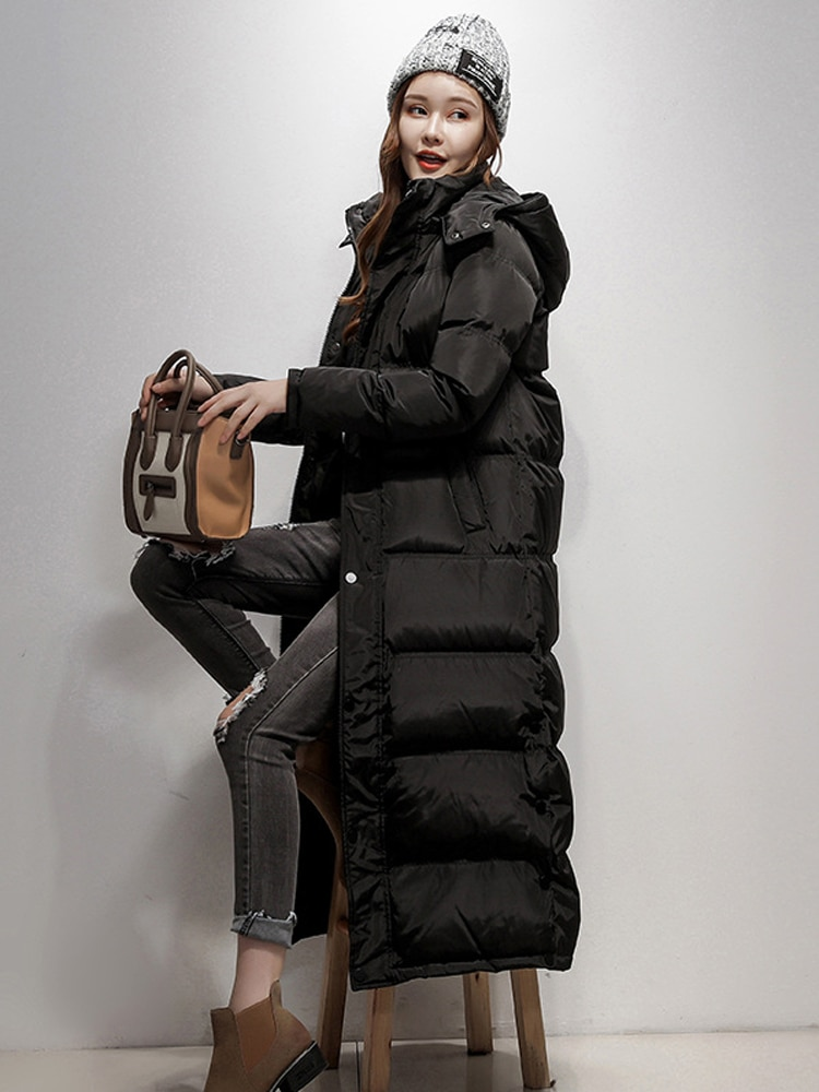2021 women's winter duck down coat ultra long maxi ankle length female puffer jackets clothing with hood hat black plus size xxl