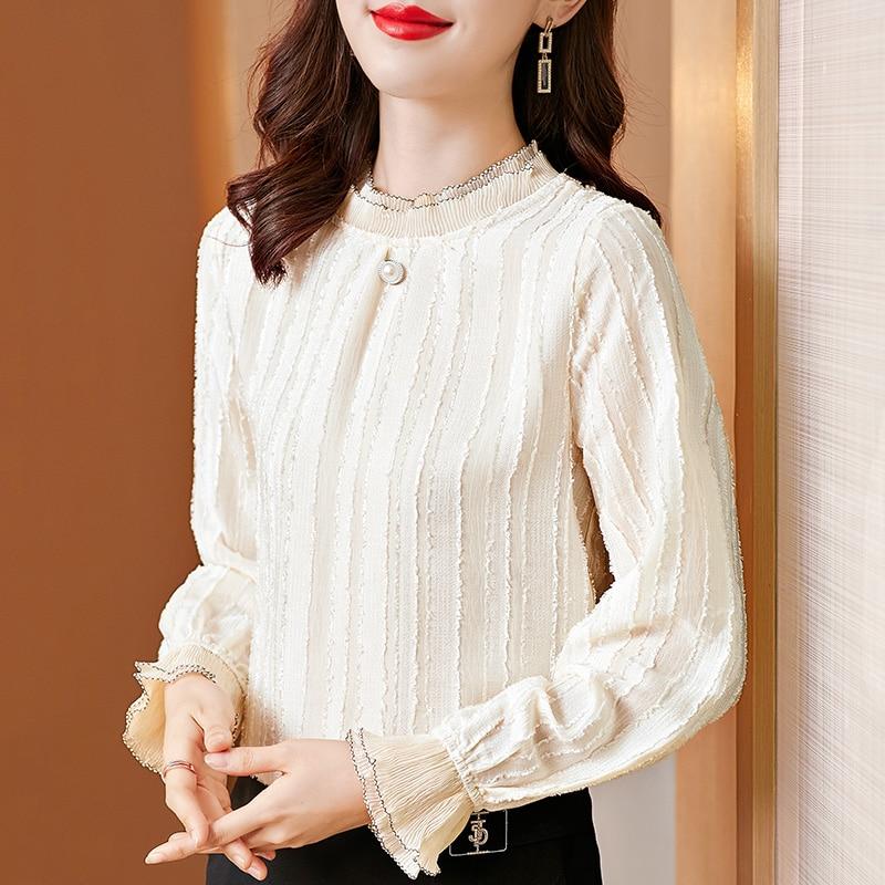 random floral print blouses with choker Women Blouses Woman Print Blouse Velvet Woman Turtleneck Long Sleeve Blouses Lace Blouse Shirts Women Floral Thick Blouse Top