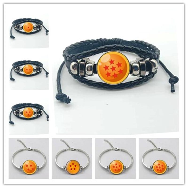 Moda Pop Anime dragón bola figura Pop juguete multicapa tejido cuero pulsera Goku cristal brazalete de balas niños regalo