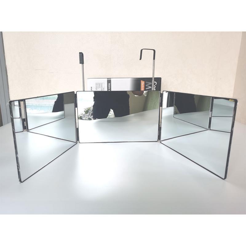 3-Way مرآة زاوية عرض 360-درجة ممارسة مرآة لقطع الشعر الذاتي والتصميم لتقوم بها بنفسك أداة حلاقة ثلاثة أضعاف مرآة
