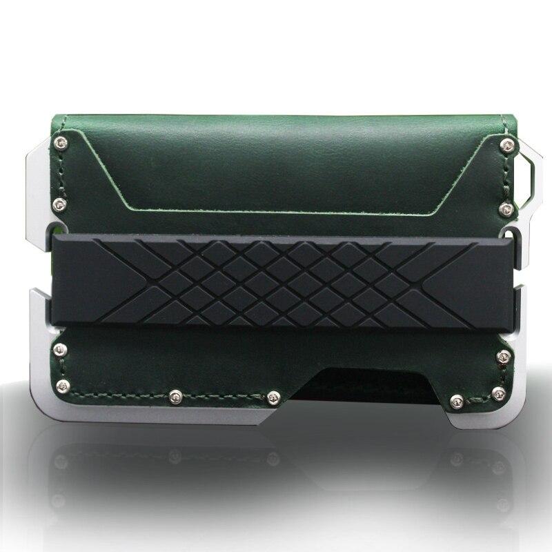 Cartera RFID multifunción de cuero genuino Vintage, bolsillo frontal de aluminio, tarjetero minimalista, militar táctico equipamiento para fanáticos