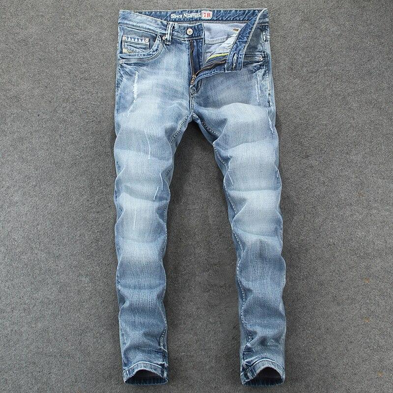 Винтажные модные мужские джинсы в европейском и американском Стиле Ретро светло-голубые Эластичные зауженные рваные джинсы мужские брюки-...