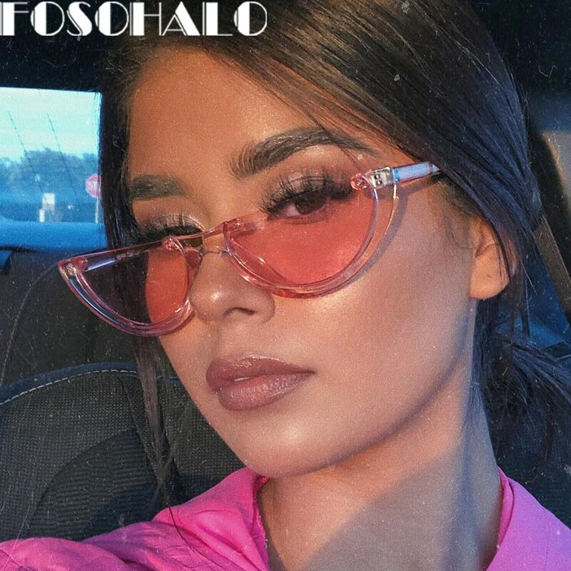 Trendy Half Frame Rimless Sunglasses Women 2020 Fashion Clear Glasses Brand Designer Sunglasses Cat