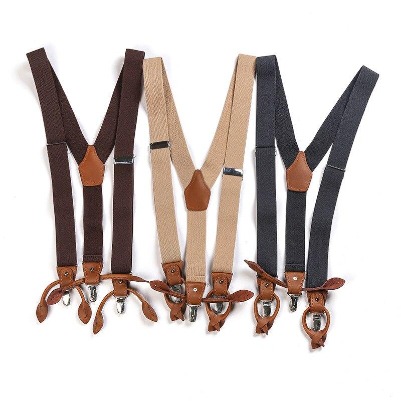Подтяжки мужские классические повседневные подтяжки для брюк с Y-образной спинкой винтажные подтяжки для брюк 3 упругие Зажимы Мужские фото...
