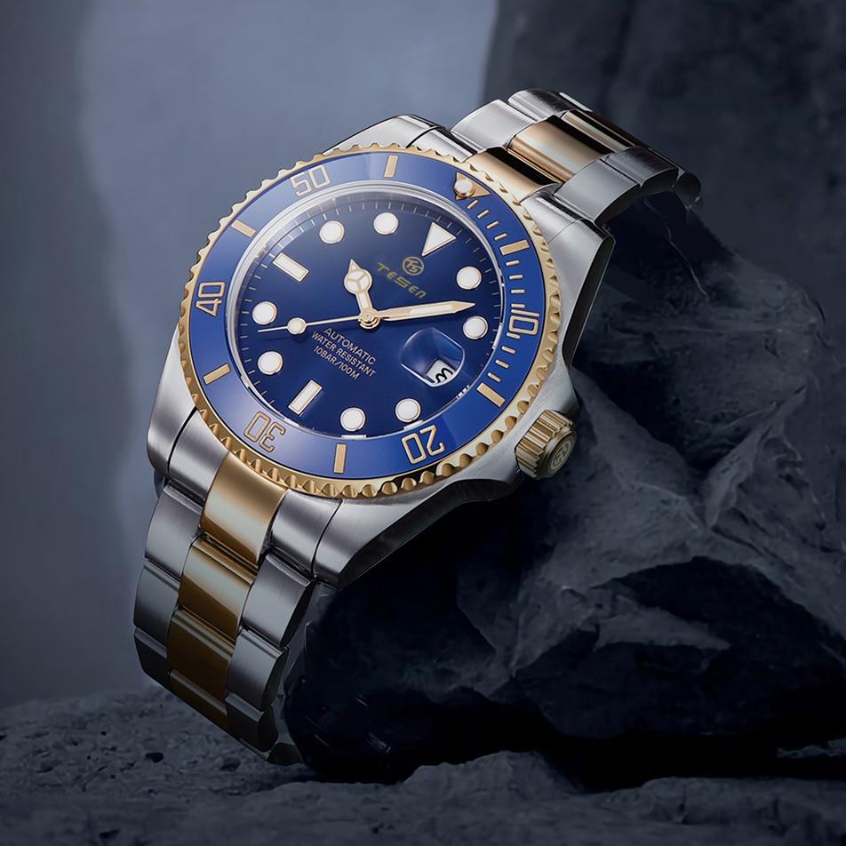 2021 TESEN تصميم العلامة التجارية الجديدة 43 مللي متر رجالي ساعة ميكانيكية الفولاذ المقاوم للصدأ ساعة أوتوماتيكية الياقوت الزجاج Relogio Masculino