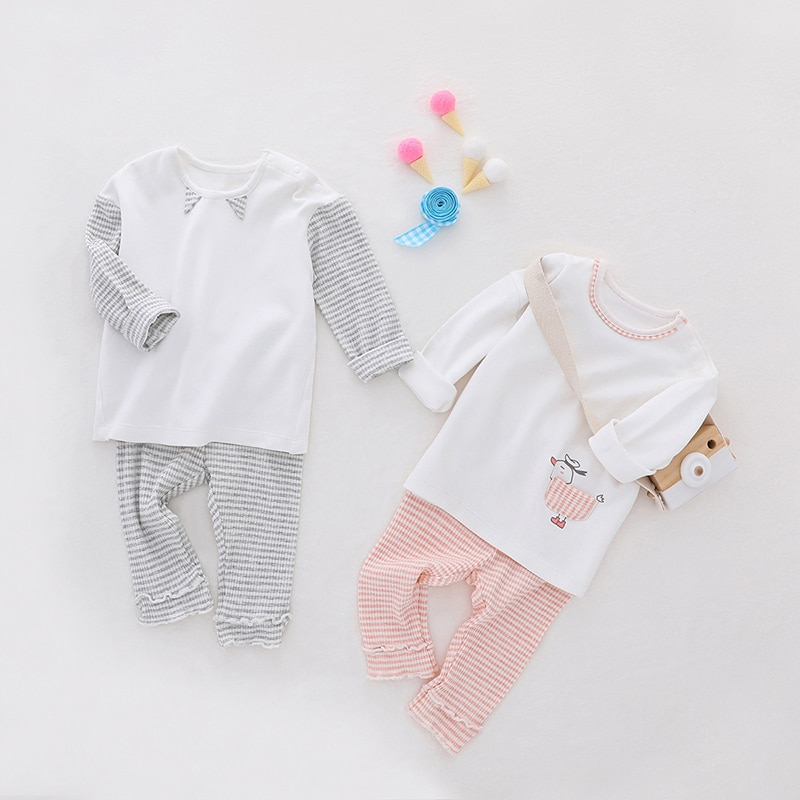 2018 new spring children girls clothing sets mouse early autumn clothes bow tops t shirt leggings pants baby kids 2 pcs suit Baywell Boys Girls Clothing Sets Spring Baby Kids Clothing Cotton T-shirt+ Striped Pants 2 Pcs Suit Children Outfits 1Y-5Y