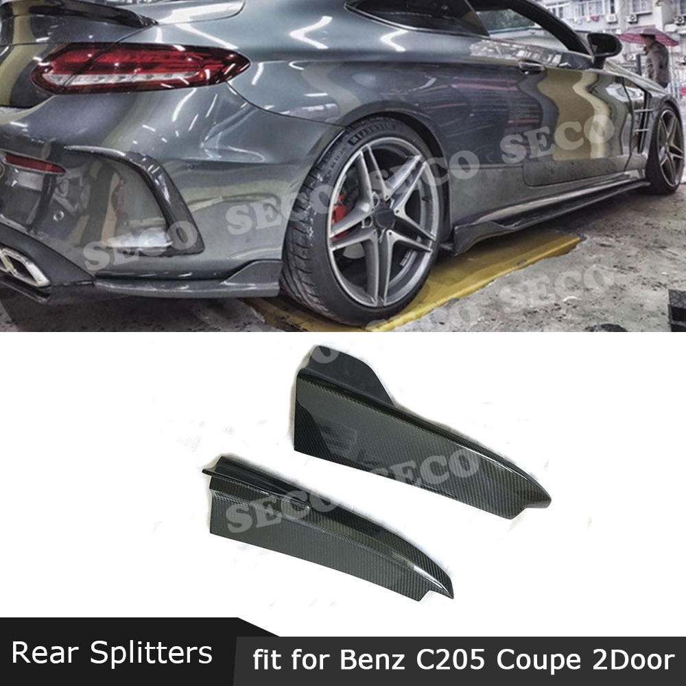 Углеродное волокно/FRP задние губные разветвители бамперные фартуки для Mercedes Benz C class W205 C205 C180 C200 C300 C63 2015 - 2019