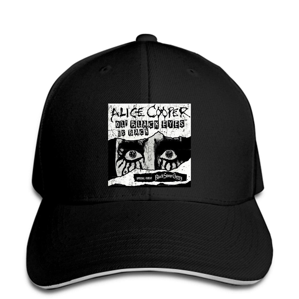 Alice Cooper-Gorra de béisbol con visera y ojos negros, sombrero de béisbol con visera, color negro