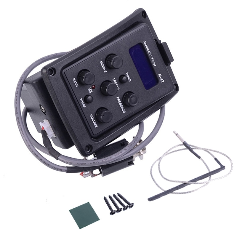acoustic guitar pre wired preamp 5 band eq tuner piezo pickup 448D EQ-4T 4 Band Acoustic Guitar Preamp EQ Equalizer EQ Pickup with Tuner