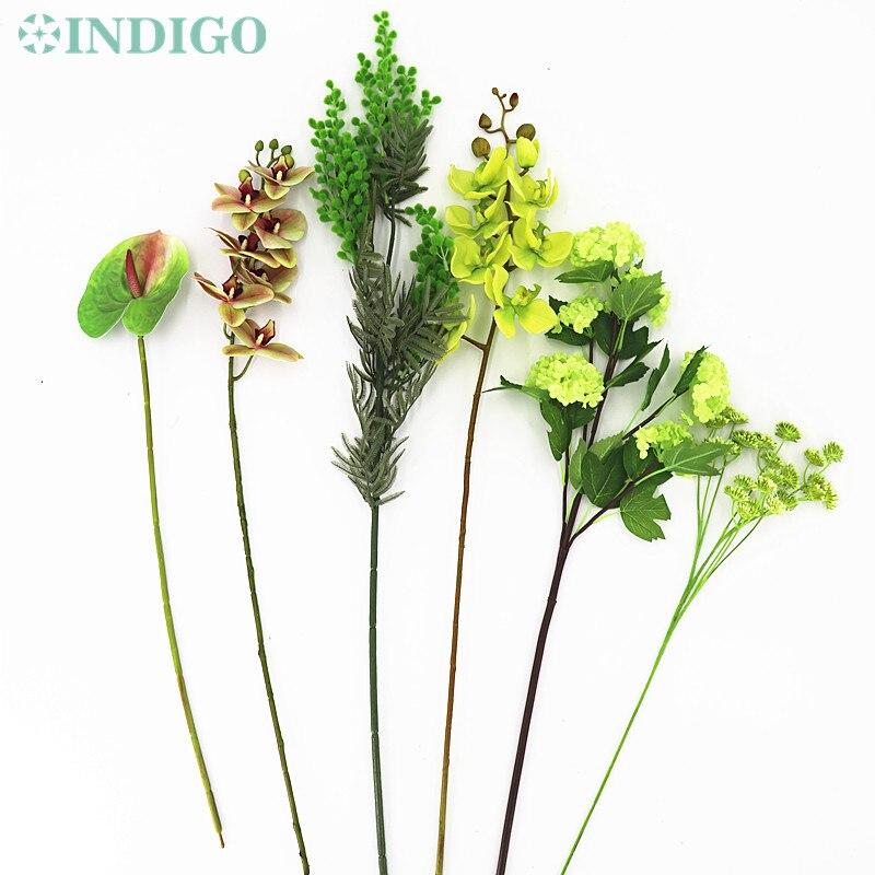 Orquídea Dendrobium verde de INDIGO-DIY/rosa del té/cala/Arreglo de La Flor de Anthurium boda fiesta evento envío gratis
