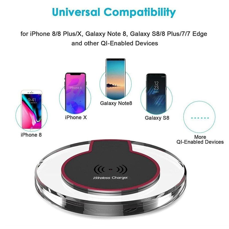 Qi Wireless Charger Crystal Round Charging Pad Docking Dock Station For IPhone X 8 Plus For Samsung Galaxy Note 8 S8 S7 S6 Edge  - buy with discount