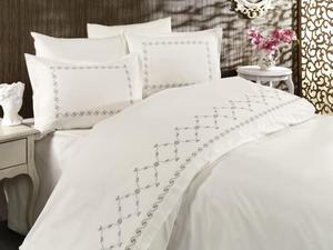 Land Of dowry Wave Embroidered Duvet set Cream Gray