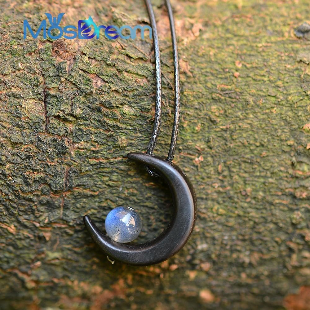MosDream Luna collar piedra preciosa sándalo 6AAA Labradorit Luna collar diosa colgante collar joyería para mujer regalo