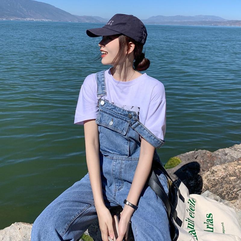 Spring Internet Celebrity Denim Salt Suspender Pants Women's Spring and Autumn Korean Style Wide Loose Summer Cute Japanese