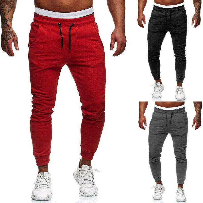 2019 pantalones largos de moda ajustados para hombre, pantalones deportivos casuales para correr, pantalones de gimnasia, pantalones lápiz, talla grande