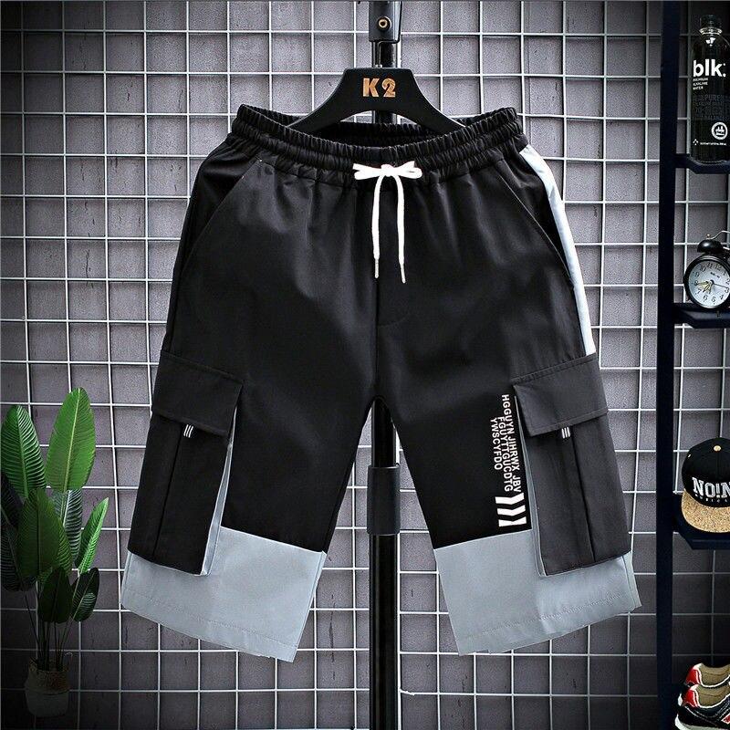 Штаны-карго HOUZHOU мужские, повседневные спортивные штаны, джоггеры, шорты, летняя Корейская уличная одежда, брюки-карго в стиле хип-хоп